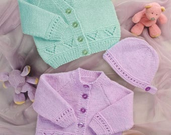 Cardigans and Hat, Premature baby to 4 Years Old, Knitting Pattern, Instant Download.