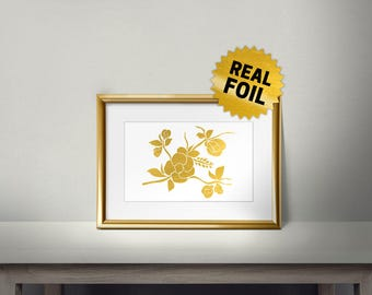 Gold Foil Rose, Real Gold Foil Print, Gold Flower Wall Art, Foil Art, Handmade Print, Metallic Gold Wall Art