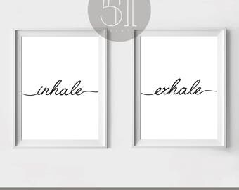Inhale Exhale Print Relaxation Gifts Breathe Minimalist Typography Art Yoga Wall