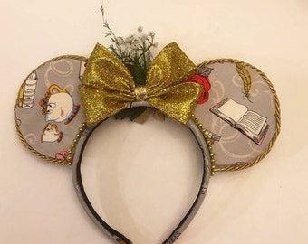 Beauty And The Beast Mouse Ears, Beauty and the Beast Mickey Ears, Handmade Mouse Ears Inspired By The Characters Of Beauty And The Beast
