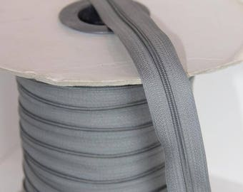 Lot 10 m gray zippers Nylon N 4 (zipper)