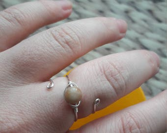 Amazing aventurine bead wire ring. Silver plated copper wire. Adjustable midi ring. Perfect gift for stocking filler. Hippy boho style.