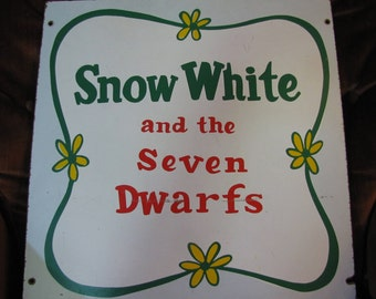 """Vintage Pressed Particle Board Disney Sign for Snow White and the Seven Dwarfs - 16x16"""" Square circa 1970s"""