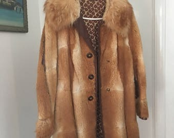 Vintage Red Fox and Leather Coat
