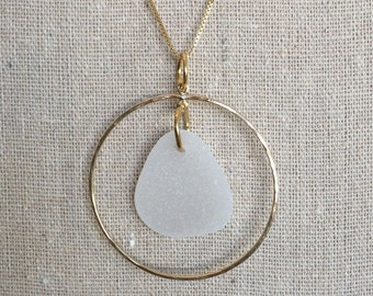 Gold plated seaglass pendant