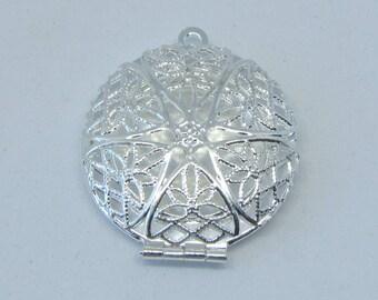 Round locket, silver locket, Aroma therapy, silver pendant, photo locket, photo charm, diy accessory, photo frame, jewelry part, make self