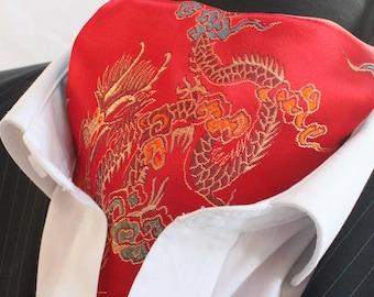 Cravat Ascot. UK Made. Red & Gold Chinese Dragon Cravat.