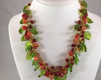 Red Jasper Fancy Jasper Cranberry  Necklace Set