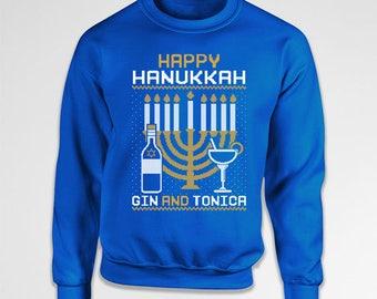 Ugly Holiday Sweater Hanukkah Sweatshirt Drinking Gifts Holiday Tops Jewish Clothing Hanukkah Menorah Crewneck Sweater Hoodie TEP-384