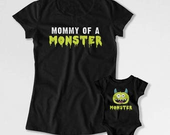 Mother Daughter Shirts Mom And Son Gifts Mom And Baby T Shirts Matching Set Family Outfits Mother's Day Mommy Of A Monster TEP-254-252