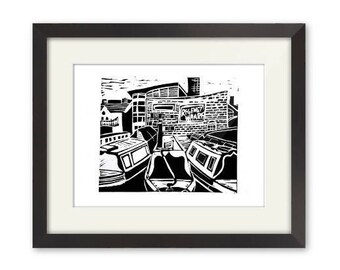 Regency Wharf-Linocut-Print-Gas Street Basin-Birmingham Canal-Contemporary Art Signed-Black Ink-Unframed
