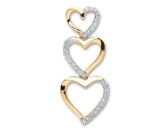 9ct Yellow Gold 0.15ct Diamond Trilogy Heart Drop Pendant 25x10mm