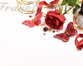 Gold & Red Rose Stock Photo / Valentine's Stock Image / Styled Stock Photography / Styled Desktop / Flatlay / Floral /Frankly Photos File#46