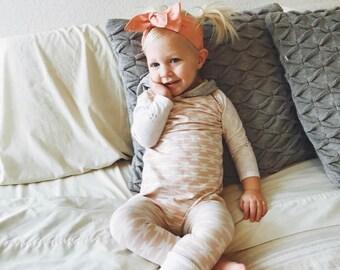 Baby romper- Baby girl romper- Toddler romper- Blush baby girl romper- Hoodie romper-  Harem romper- Long sleeve baby girl romper