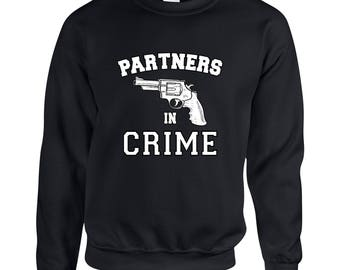 Partners in Crime Left Side Friendship  Adult Clothing Unisex Sweatshirt Printed Crew Neck Sweater for Women and Men