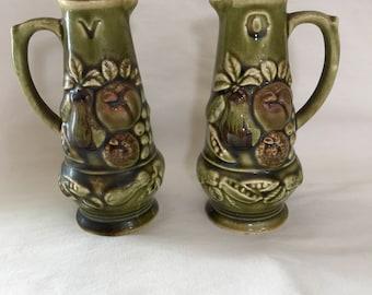 Cruet set, Vintage green ceramic oil and vinegar from Japan