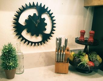 """Large Gear Steel Clock in Black 15"""" Steampunk Metal Wall Art"""