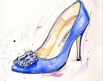 SHOE ART PRINT from painting of blue Manolo Blahnik shoes By artist Laura Andrew