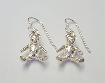 Gift for her Teddy Bear Earrings in .925 Sterling Silver
