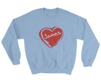 Personalized Valentines Sweatshirt, Valentines sweater Valentines day sweatshirt with your name on it I love you sweatshirt Heart sweatshirt