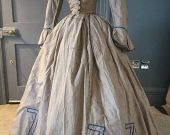 Quirky 1860s Civil War Era Silk Crinoline Dress - Victorian Antique Fashion