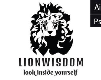 unique LION WISDOM logo