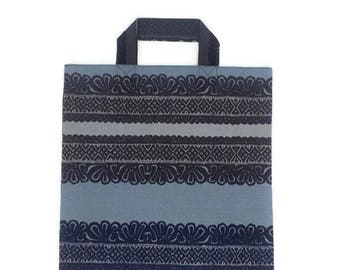 New Handmade Cotton Shopping Tote Bag Shopper Made of Marimekko Fabric Finland, Grey, Blue and Brown Geometric Pattern