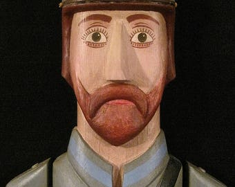 Confederate Soldier Tall Wall Plaque – Folk Art Wood Carving