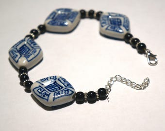 Blue and White Ceramic Beaded Bracelet