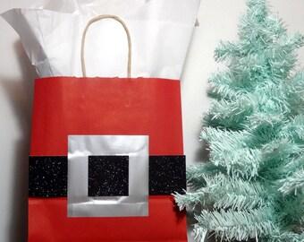 Handmade Santa Gift Bag, Embellished Christmas Gift Bag, Santa Gift Wrapping, Holiday Gift Bag, Understated Christmas Gift Bag, Santa Suit