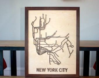 New York City woodcut subway map