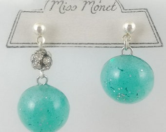 LARGE Fashionably Mismatched Minty Resin Dangle Earrings