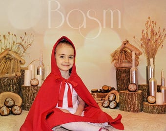 Red Riding Hood Dress Girl Costume size 110 Handmade Kids Costume Red Dress