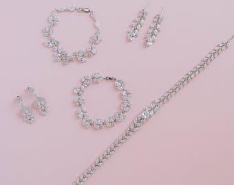Cubic Zirconia Cluster Earrings, CZ Bridal Earrings, Crystal Wedding Earrings, Wedding Set, Bridal Jewellery, Bridesmaid Jewelry, Earrings