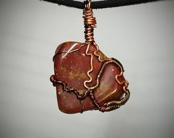 Plume Jasper Pendant - Wire Wrapped Jewelry - Dense Orange Red and Brown Flecked Swirls - Double Sided Handmade Necklace