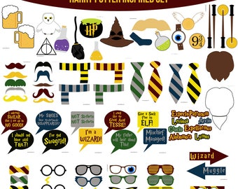 Instant Download Harry Potter Inspired Printable Photo Booth Prop Set