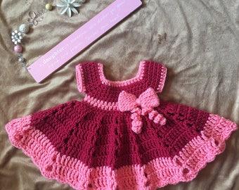 Red crochet baby dress