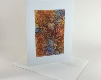 Maple tapestry no. 7 blank card, individually handmade, not a reproduction: A7, notecards, fine cards, SKU BLA71005