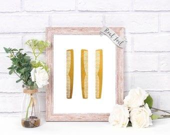 Glam Wall Art Hair Salon Decor Foil Print - Hairdresser - Beauty Salon - Hair Stylist Gift - Salon Wall Decor - Glam Decor