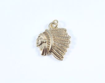Indian Chief Charm, Indian Head Charms, Native American Charms, Indian Headdress Charms