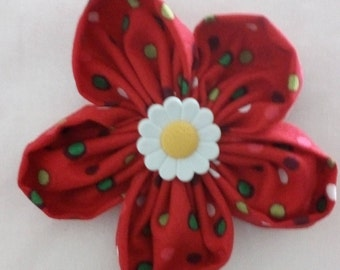 Red fabric brooch, Polka dot flower pin, Fabric flower, hijab pin