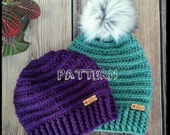 Crochet Hat Pattern, Crochet Pattern, Crochet Slouchy Pattern, Crochet Messy Bun Beanie Pattern, Crochet, Slouchy Hat, Messy Bun Beanie