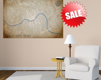 CINCINNATI Map, Ohio, Giclee Fine Art, Poster Print, Wall Art, Home Decor, Decoration, Vintage look, Extra Large Wall Art, Panoramic Map, OH