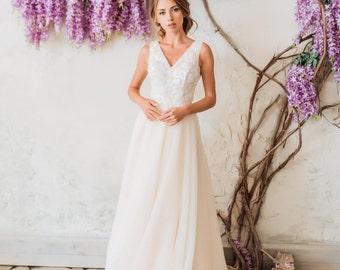 Modest Wedding Dress Open Back Cream Light Beige