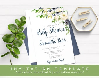 Boy Baby Shower Invitation, Blue Boho Floral Watercolor, Baby Boy Shower invite, Editable baby shower template, templett Instant Download