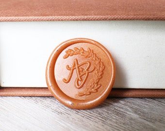 Custom two initials with Branch wax stamp kit, Personalized heart deer wedding wax seal, wedding gift,party wax seal stamp set