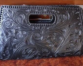 "ALLE ""Envelope"" Handcrafted Black Tooled Leather Clutch Bag Large"