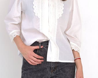 VINTAGE White Long Sleeve Retro Heart Shirt