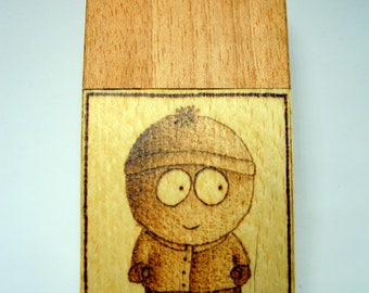 Wooden cigarette box (anigre and white beech wood) with burned in Stan and Kenny from South Park