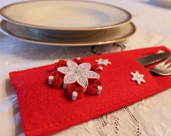 Felt and paper cutlery tray (quilling) Christmas/Christmas Ornament